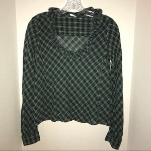 🍀J. Crew blouse with ruffle neckline, green plaid